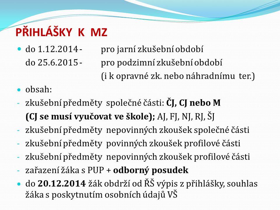 PŘIHLÁŠKY K MZ do 1.12.2014 - pro jarní zkušební období