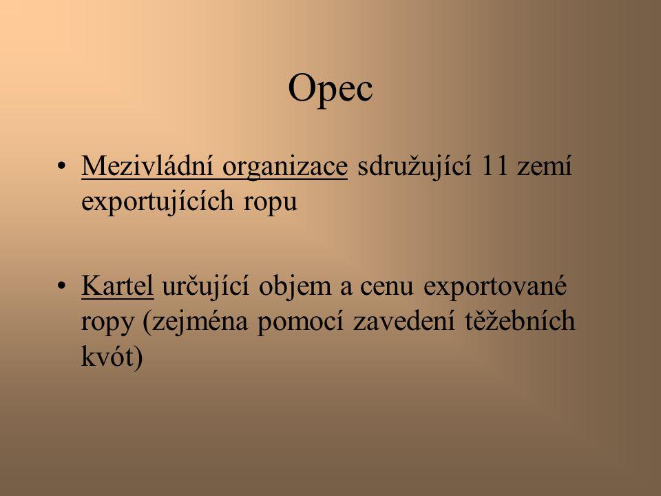 Opec Mezivládní organizace sdružující 11 zemí exportujících ropu