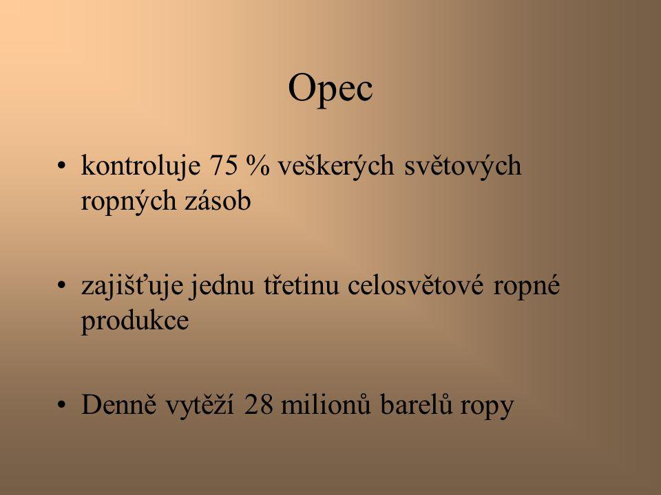 Opec kontroluje 75 % veškerých světových ropných zásob