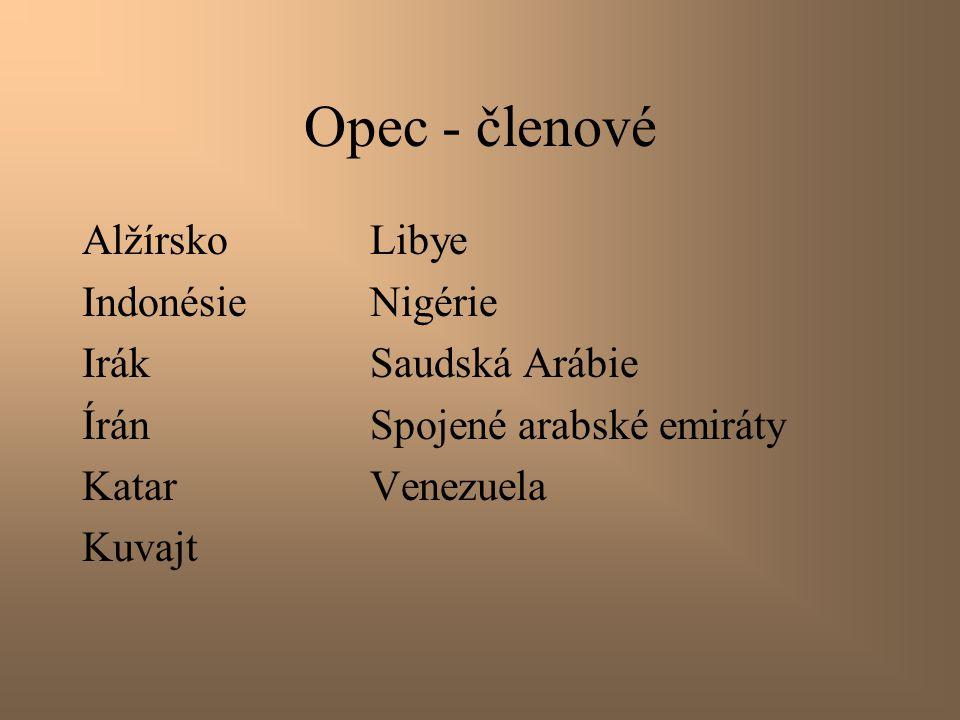 Opec - členové Alžírsko Libye Indonésie Nigérie Irák Saudská Arábie