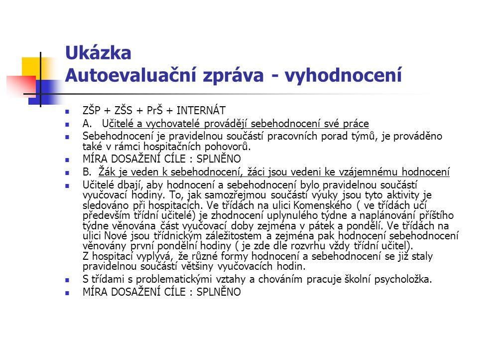 Ukázka Autoevaluační zpráva - vyhodnocení