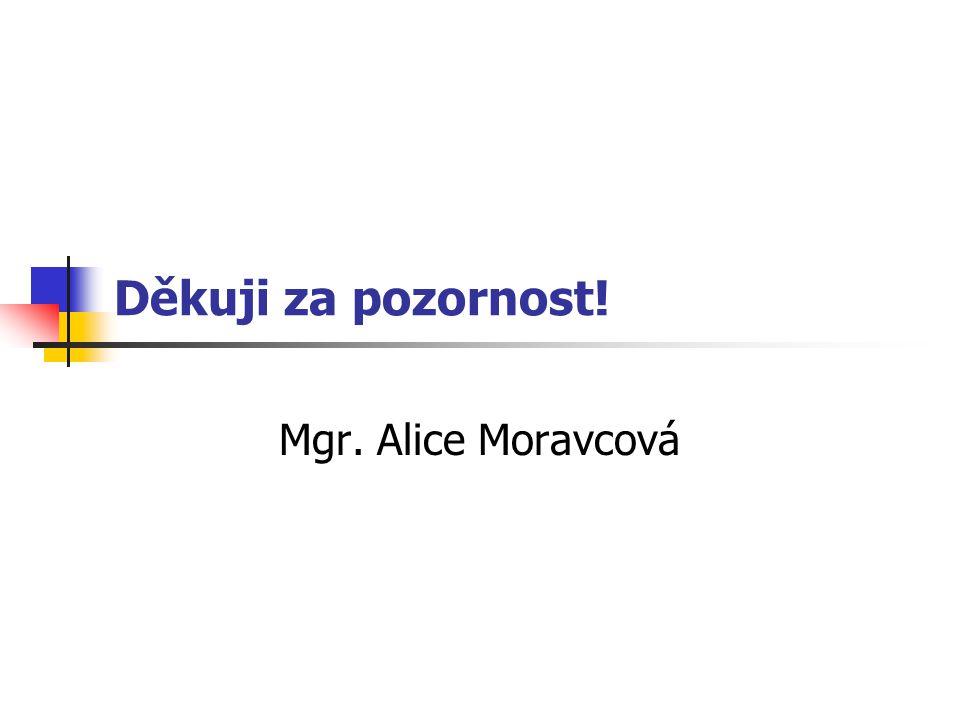 Děkuji za pozornost! Mgr. Alice Moravcová