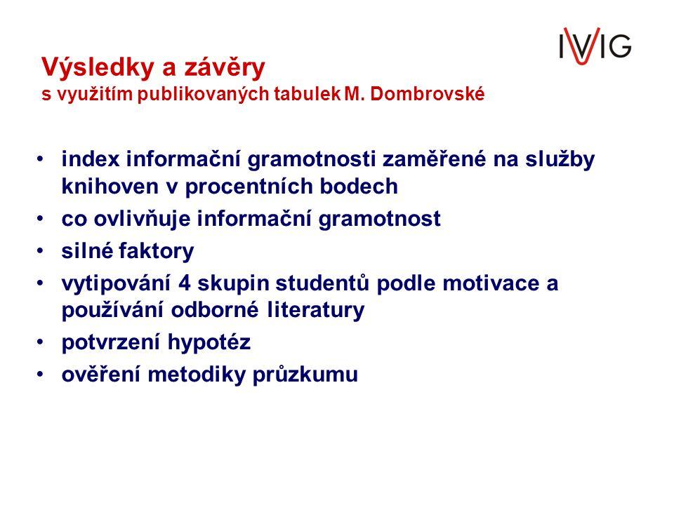 Výsledky a závěry s využitím publikovaných tabulek M. Dombrovské