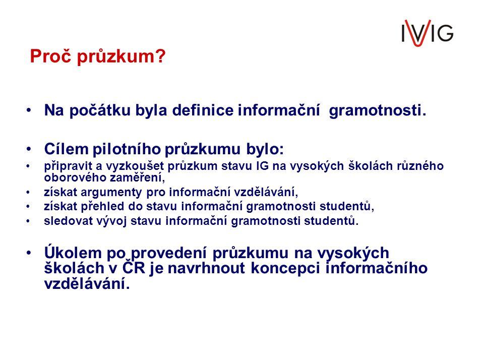Proč průzkum Na počátku byla definice informační gramotnosti.