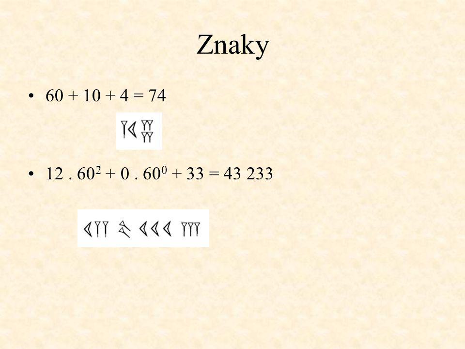 Znaky 60 + 10 + 4 = 74 12 . 602 + 0 . 600 + 33 = 43 233