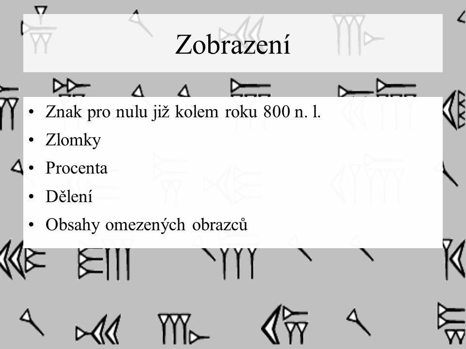 Zobrazení Znak pro nulu již kolem roku 800 n. l. Zlomky Procenta