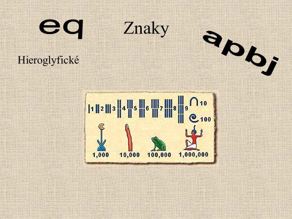 Znaky eq apbj Hieroglyfické