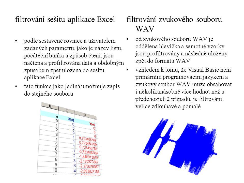 filtrování sešitu aplikace Excel filtrování zvukového souboru WAV