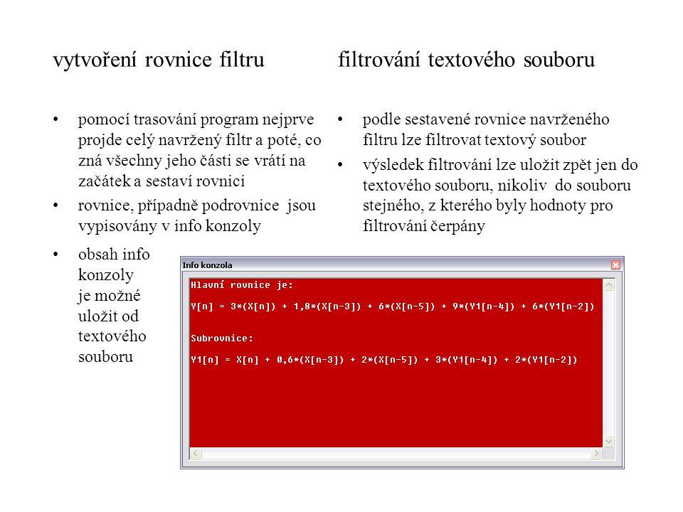vytvoření rovnice filtru filtrování textového souboru