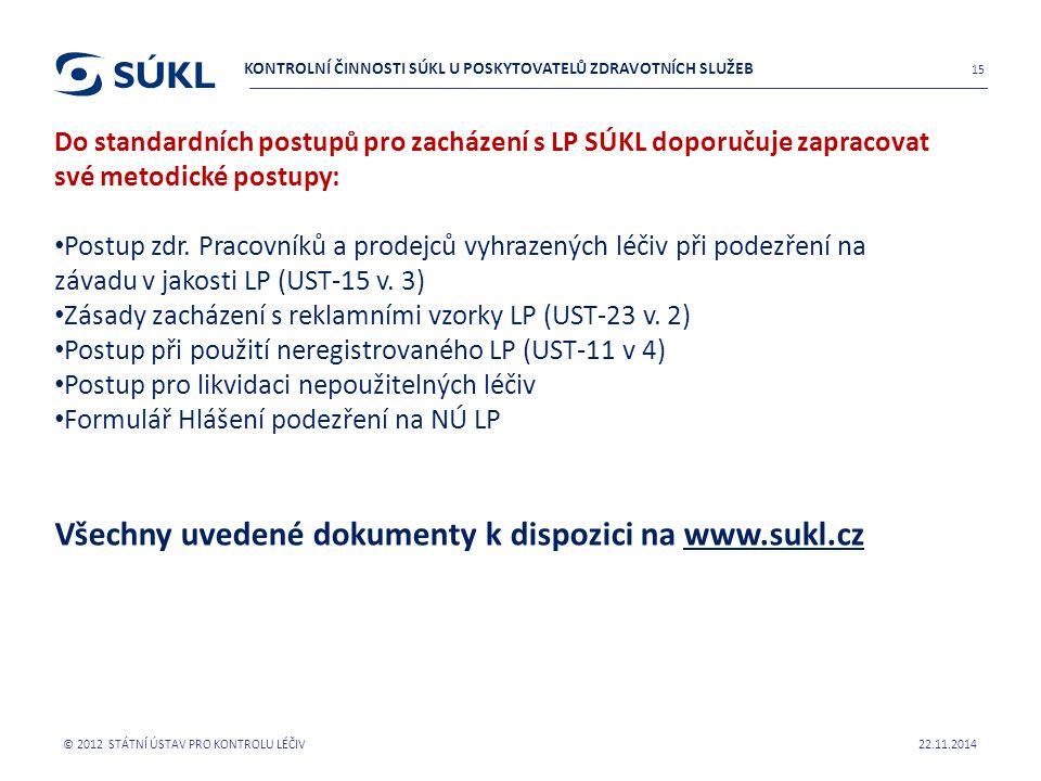 Všechny uvedené dokumenty k dispozici na www.sukl.cz
