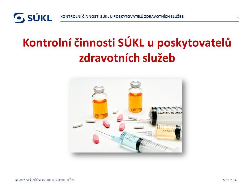 Kontrolní činnosti SÚKL u poskytovatelů zdravotních služeb