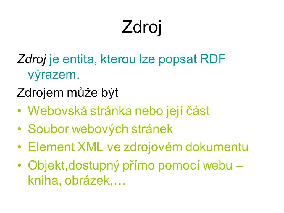 Zdroj Zdroj je entita, kterou lze popsat RDF výrazem. Zdrojem může být