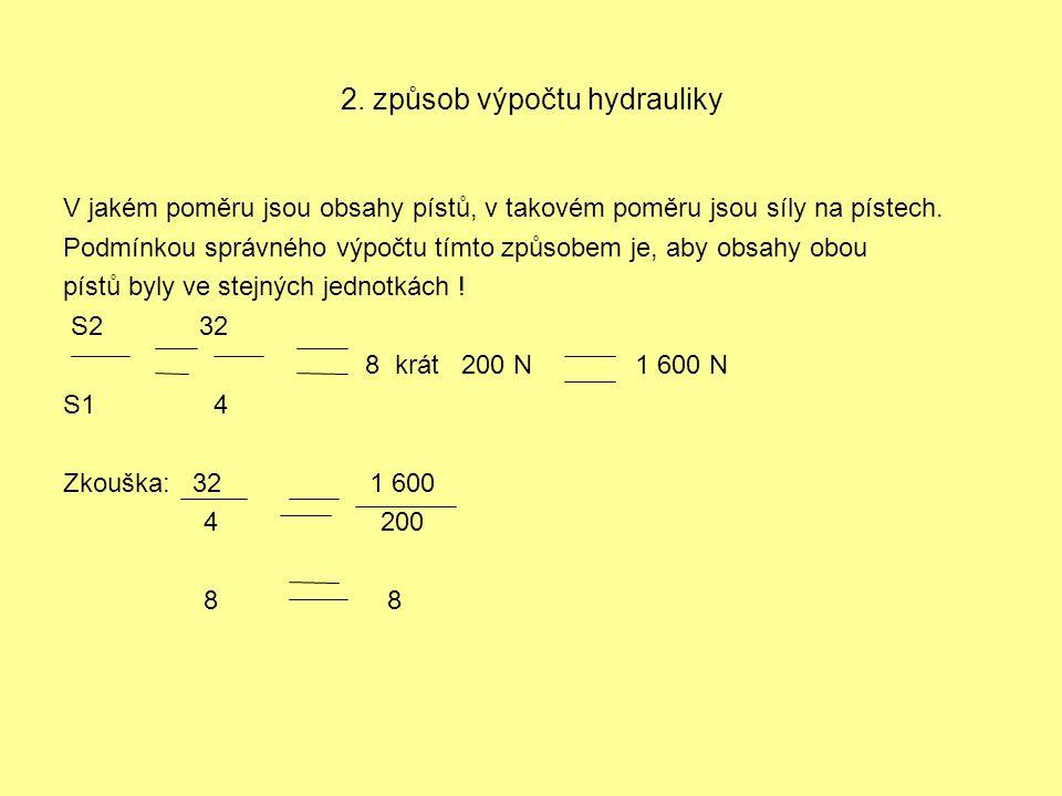 2. způsob výpočtu hydrauliky