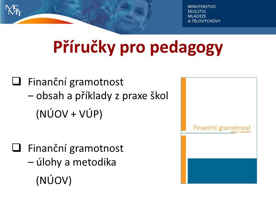 Příručky pro pedagogy Finanční gramotnost – obsah a příklady z praxe škol. (NÚOV + VÚP) Finanční gramotnost – úlohy a metodika.