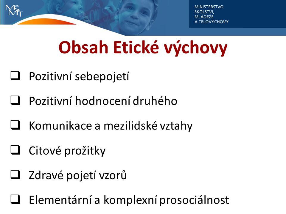 Obsah Etické výchovy Pozitivní sebepojetí Pozitivní hodnocení druhého