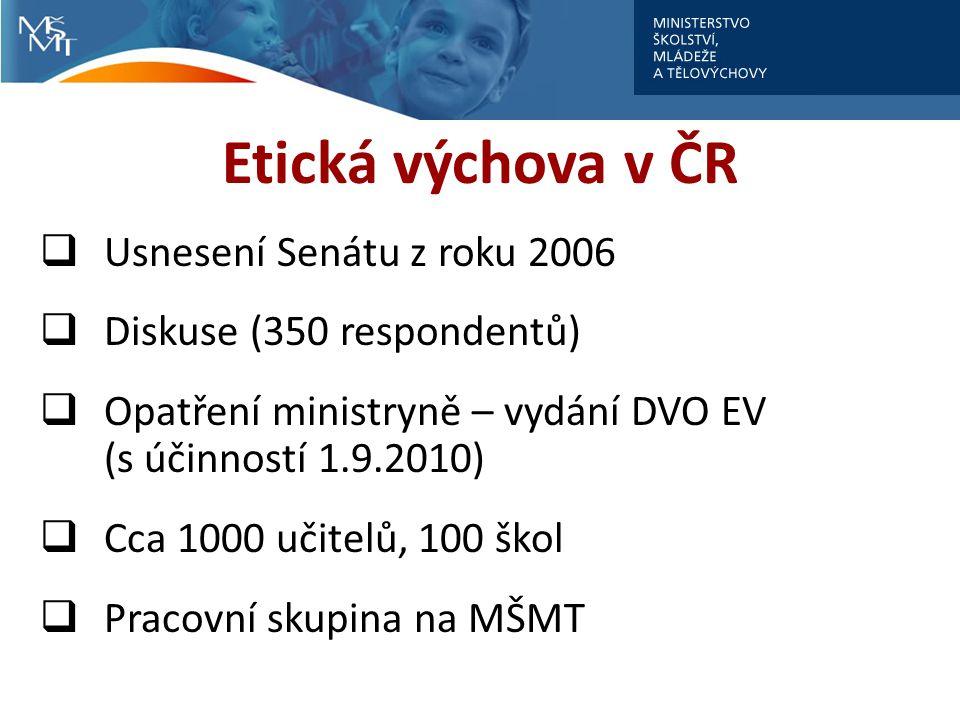 Etická výchova v ČR Usnesení Senátu z roku 2006