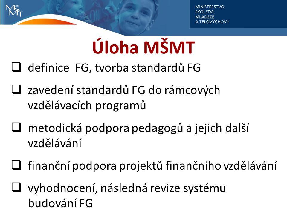 Úloha MŠMT definice FG, tvorba standardů FG