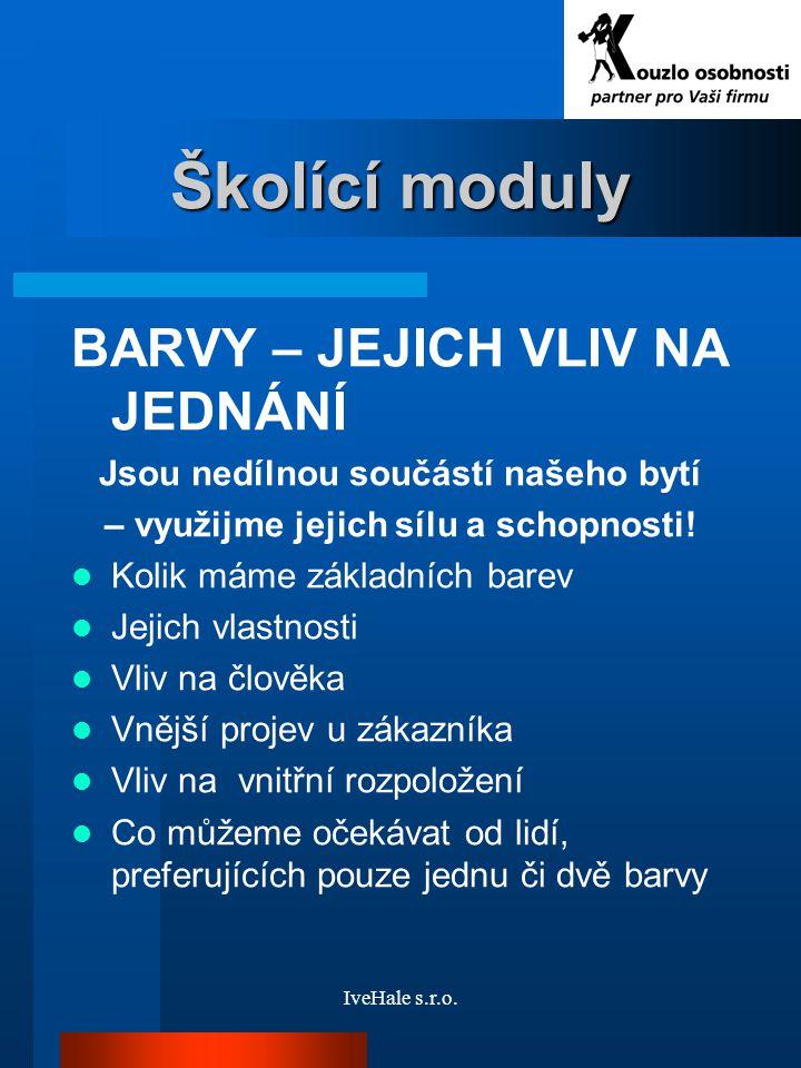 Školící moduly BARVY – JEJICH VLIV NA JEDNÁNÍ
