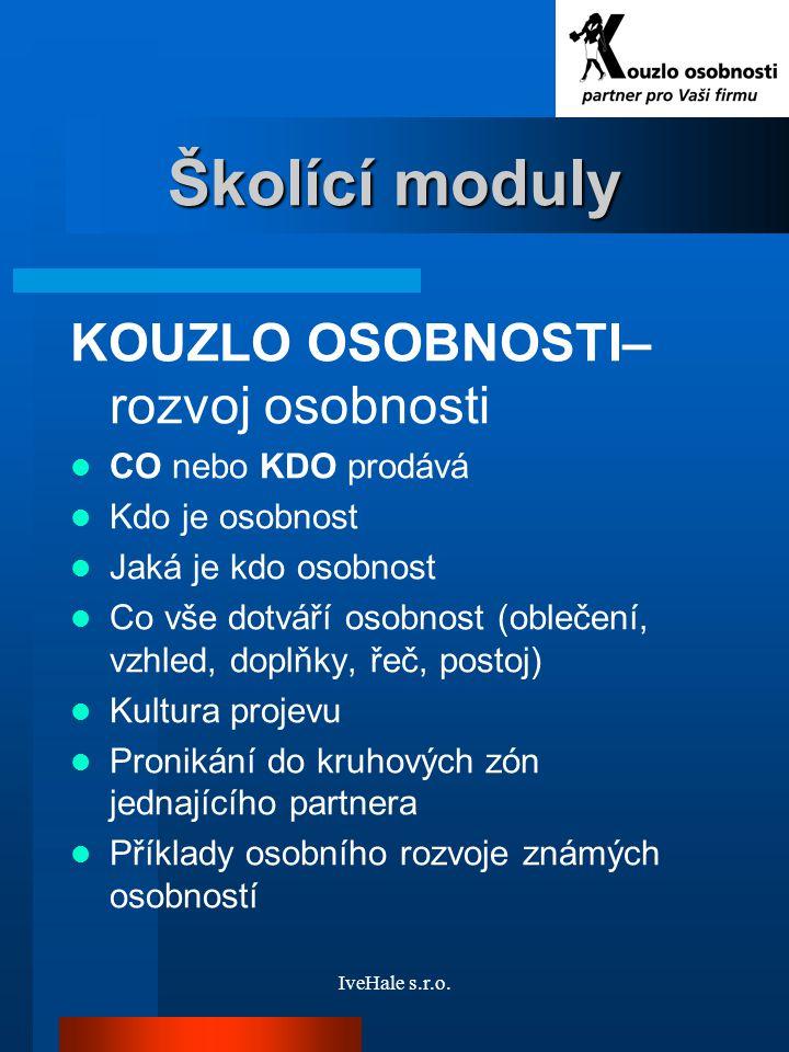 Školící moduly KOUZLO OSOBNOSTI–rozvoj osobnosti CO nebo KDO prodává