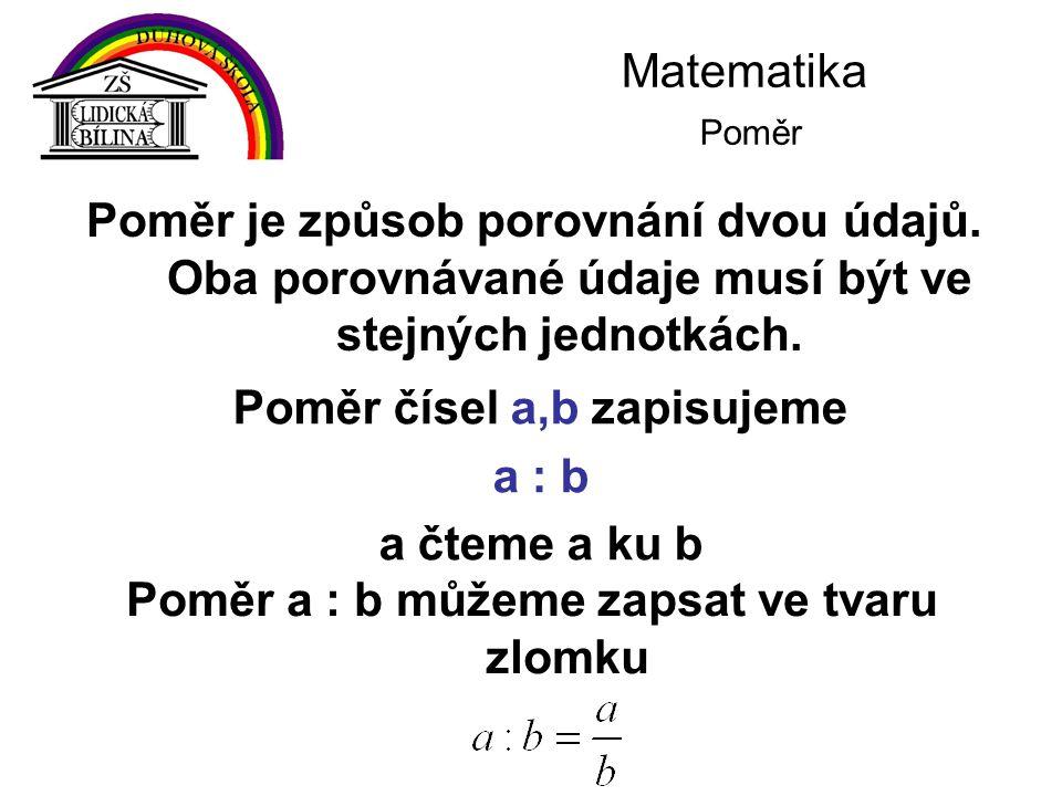 Poměr čísel a,b zapisujeme Poměr a : b můžeme zapsat ve tvaru zlomku