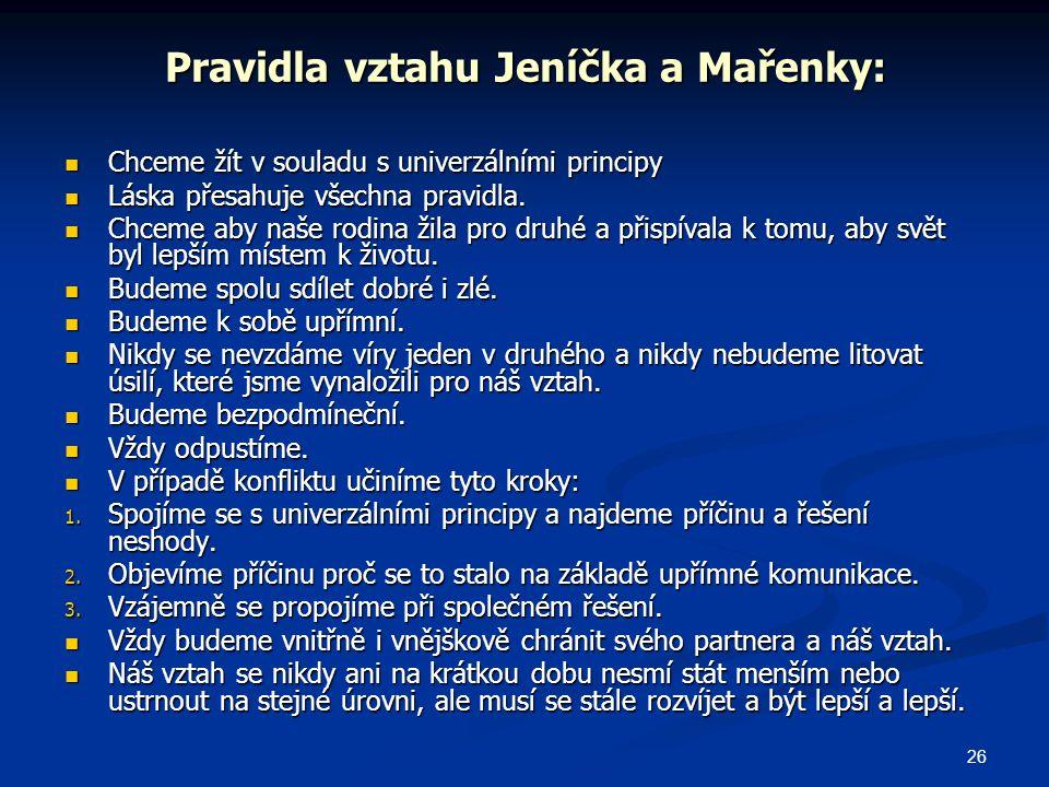 Pravidla vztahu Jeníčka a Mařenky: