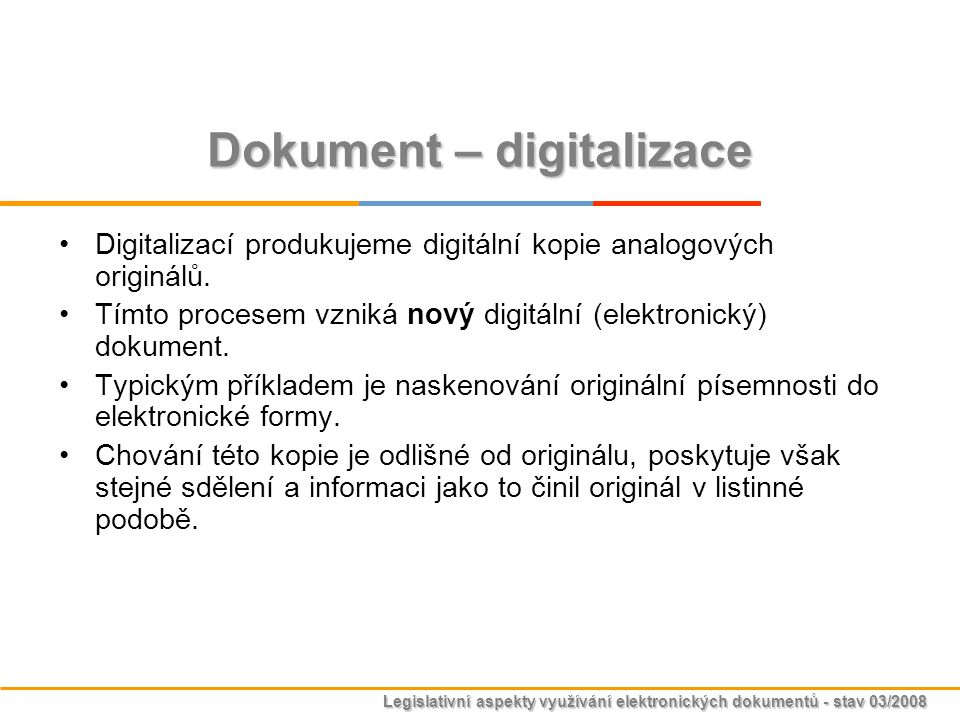 Dokument – digitalizace