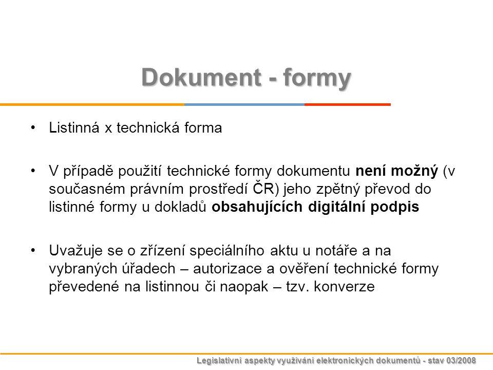 Dokument - formy Listinná x technická forma