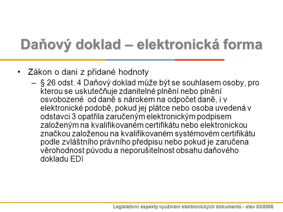 Daňový doklad – elektronická forma