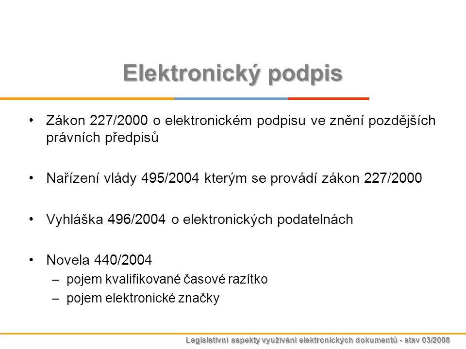Elektronický podpis Zákon 227/2000 o elektronickém podpisu ve znění pozdějších právních předpisů.