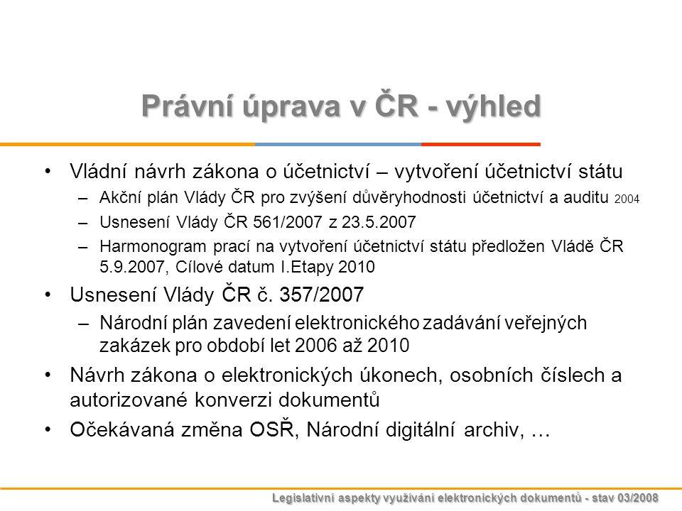 Právní úprava v ČR - výhled