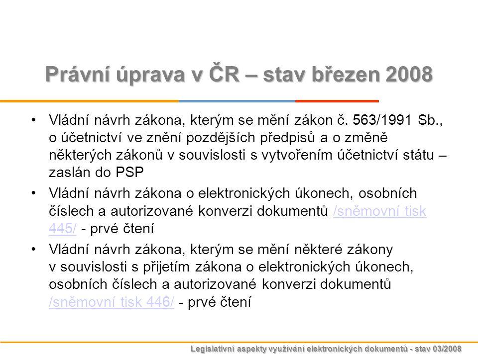 Právní úprava v ČR – stav březen 2008