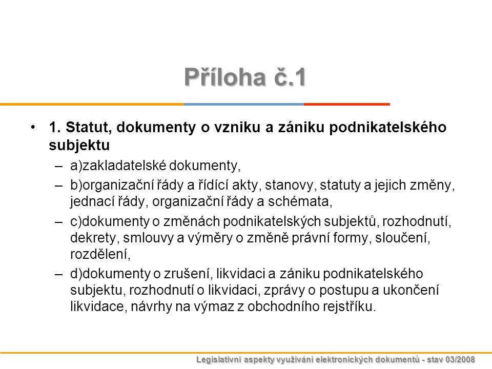 Příloha č.1 1. Statut, dokumenty o vzniku a zániku podnikatelského subjektu. a)zakladatelské dokumenty,