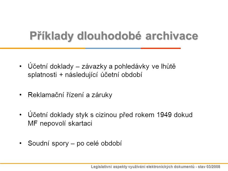 Příklady dlouhodobé archivace