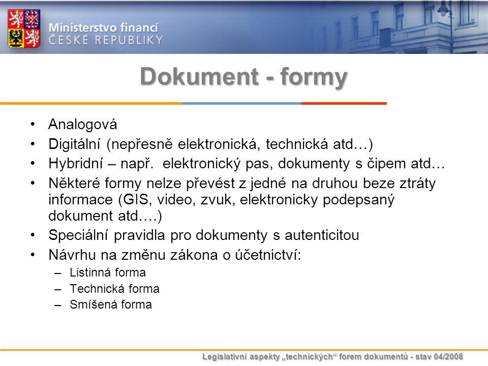 Dokument - formy Analogová