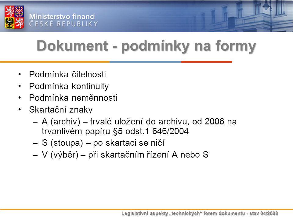 Dokument - podmínky na formy
