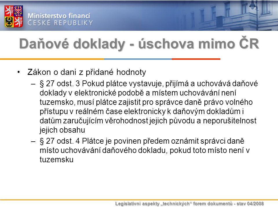 Daňové doklady - úschova mimo ČR