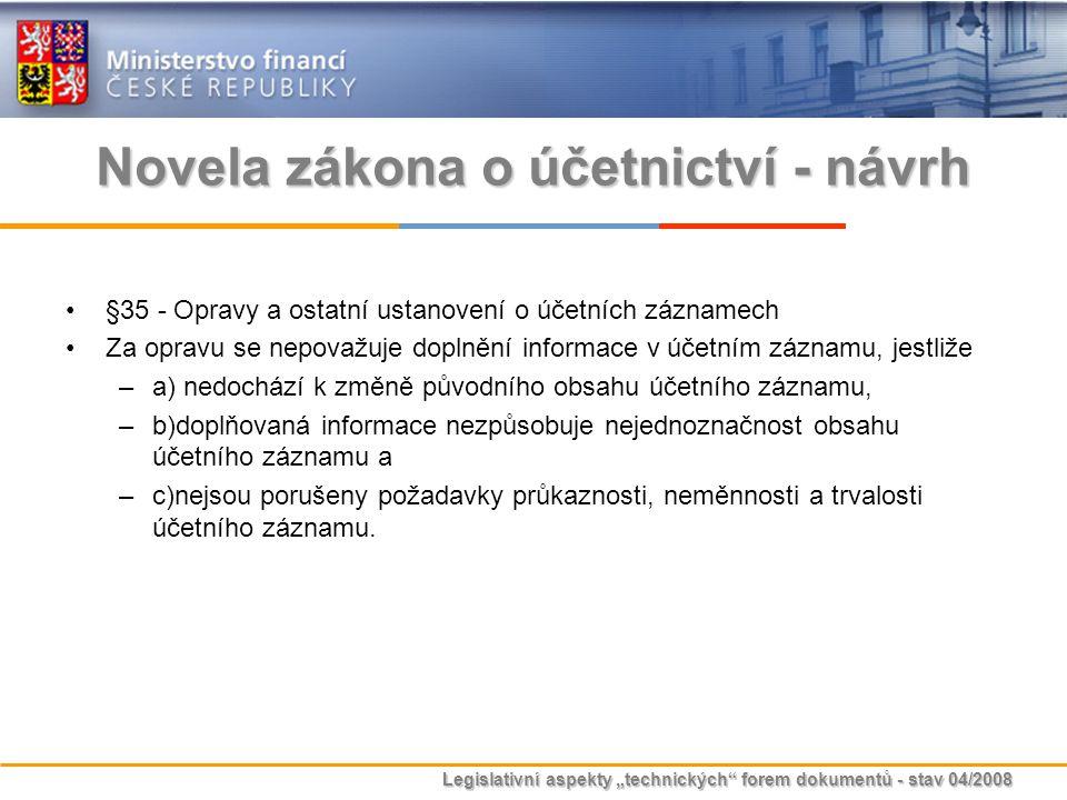 Novela zákona o účetnictví - návrh
