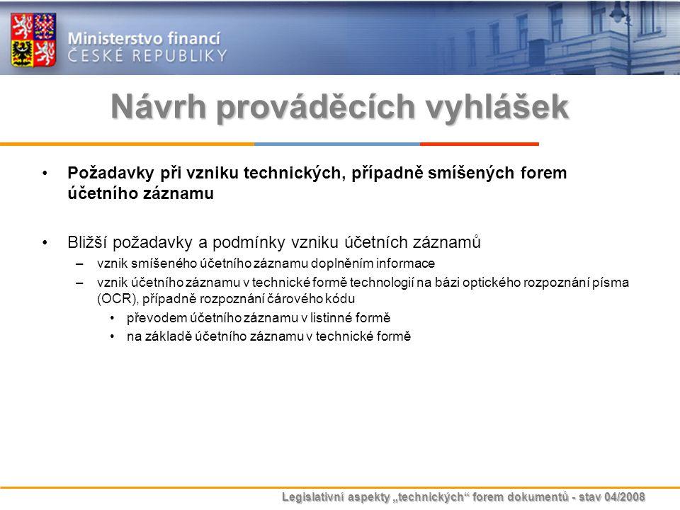 Návrh prováděcích vyhlášek