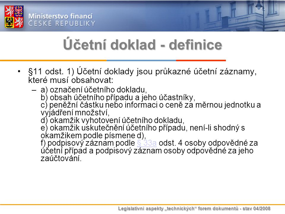 Účetní doklad - definice