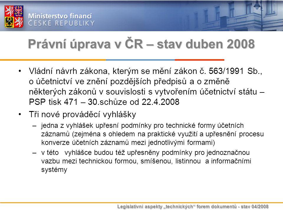 Právní úprava v ČR – stav duben 2008