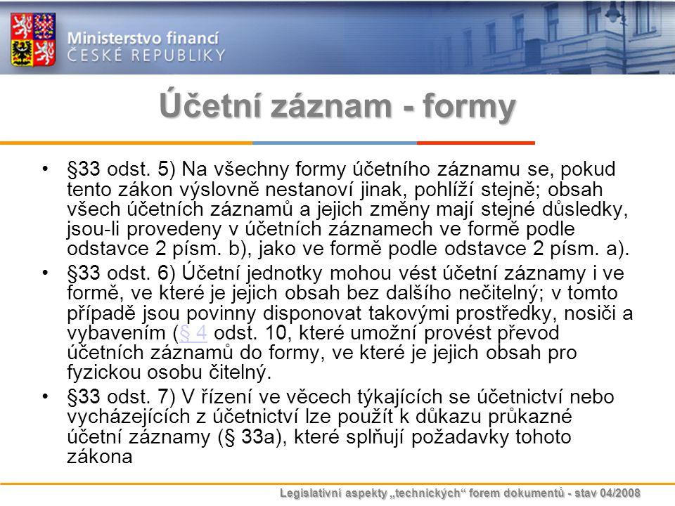 Účetní záznam - formy