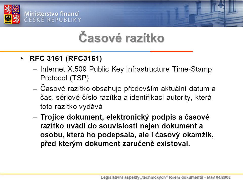 Časové razítko RFC 3161 (RFC3161)