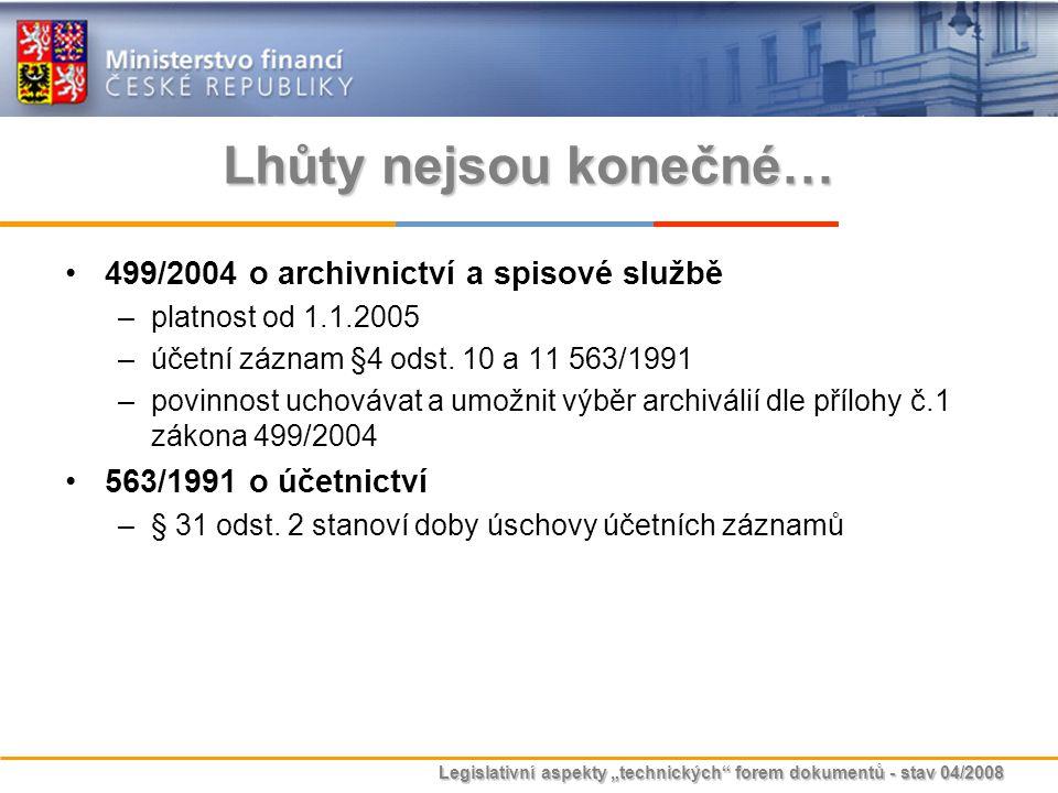 Lhůty nejsou konečné… 499/2004 o archivnictví a spisové službě