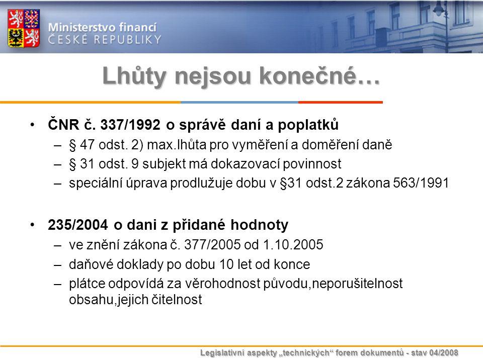 Lhůty nejsou konečné… ČNR č. 337/1992 o správě daní a poplatků