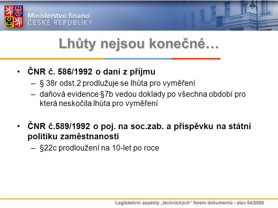 Lhůty nejsou konečné… ČNR č. 586/1992 o dani z příjmu