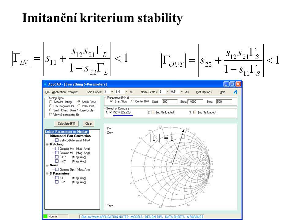 Imitanční kriterium stability
