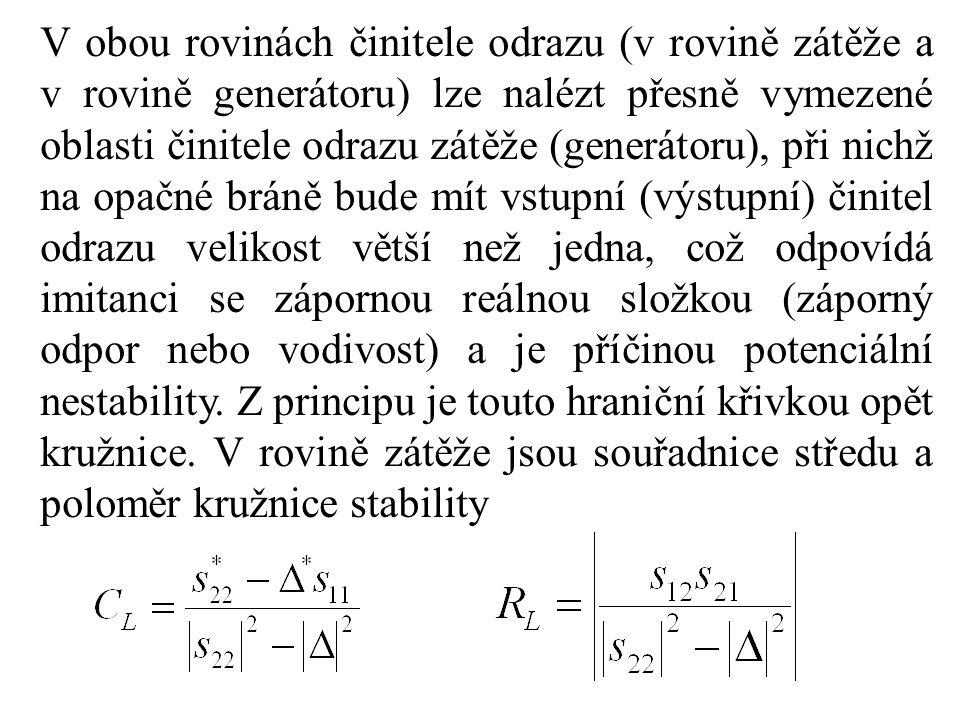 V obou rovinách činitele odrazu (v rovině zátěže a v rovině generátoru) lze nalézt přesně vymezené oblasti činitele odrazu zátěže (generátoru), při nichž na opačné bráně bude mít vstupní (výstupní) činitel odrazu velikost větší než jedna, což odpovídá imitanci se zápornou reálnou složkou (záporný odpor nebo vodivost) a je příčinou potenciální nestability.