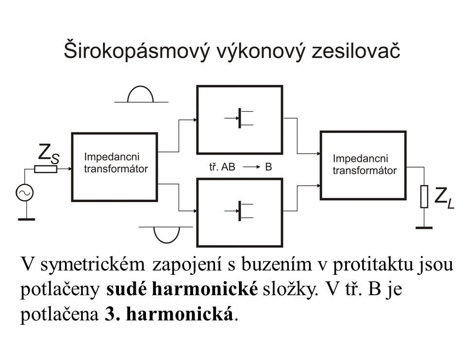 V symetrickém zapojení s buzením v protitaktu jsou