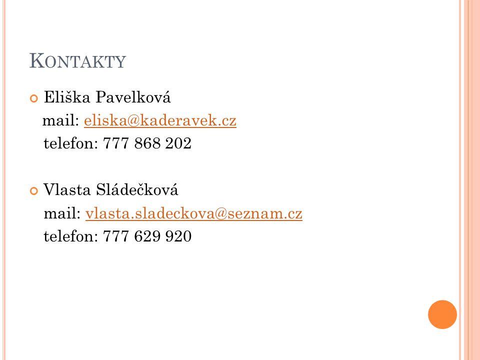 Kontakty Eliška Pavelková mail: eliska@kaderavek.cz