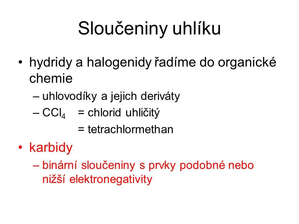 Sloučeniny uhlíku hydridy a halogenidy řadíme do organické chemie